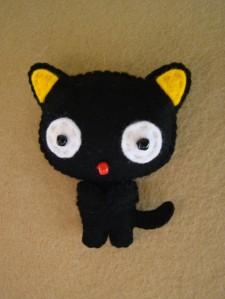 broche fieltro gato negro